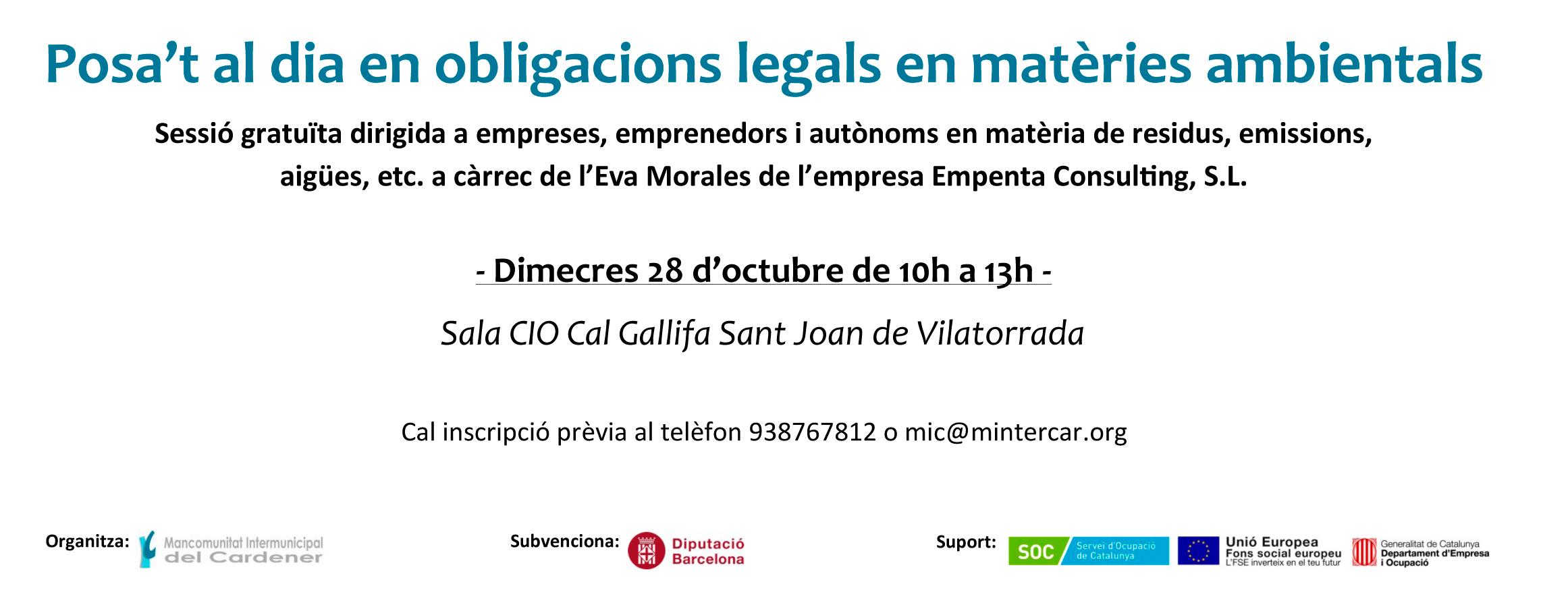 obligacions legals ambientals per empreses jornada de empenta consulting
